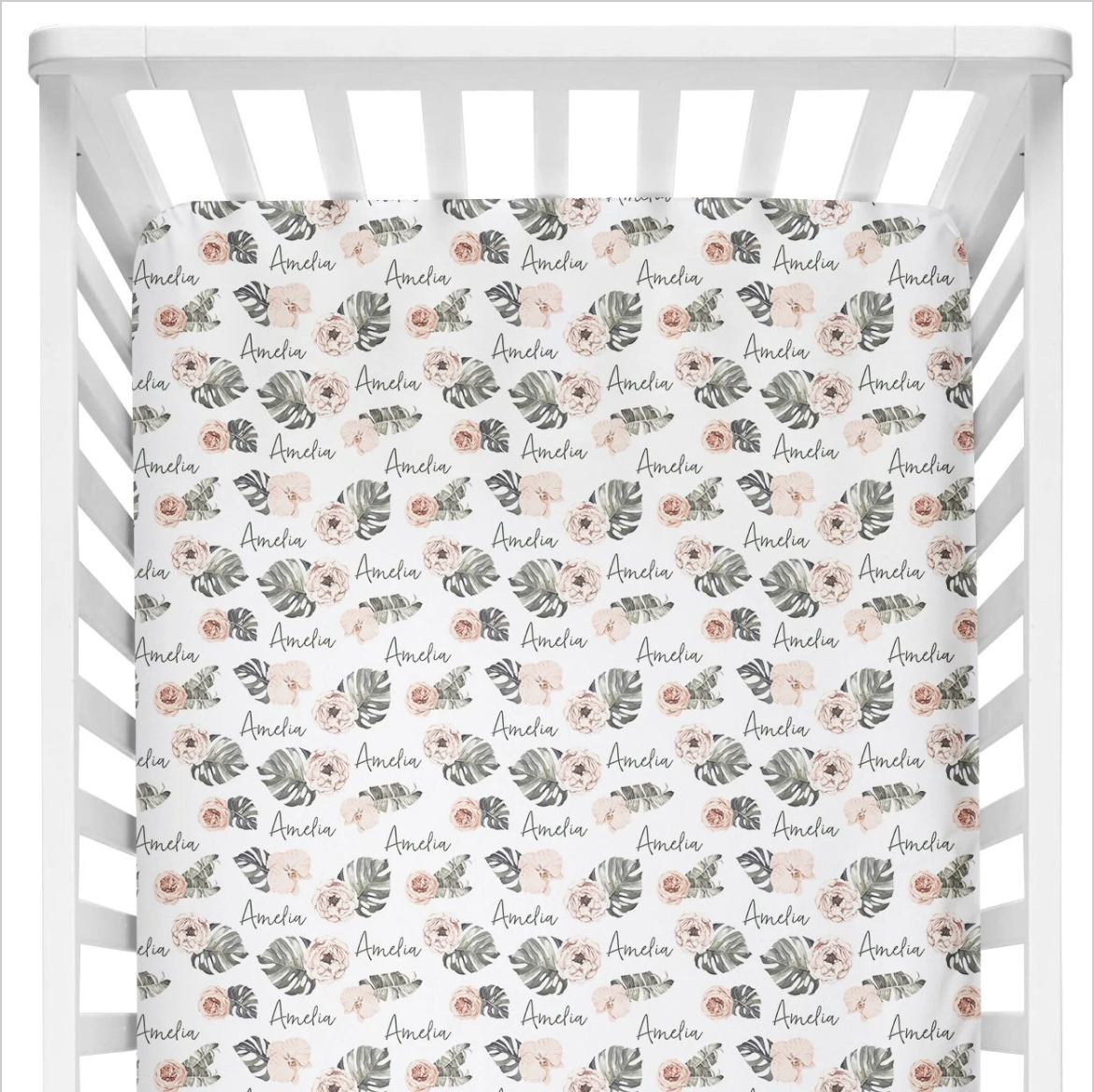 Sugar + Maple | Personalized Crib Sheet | Tropical Floral