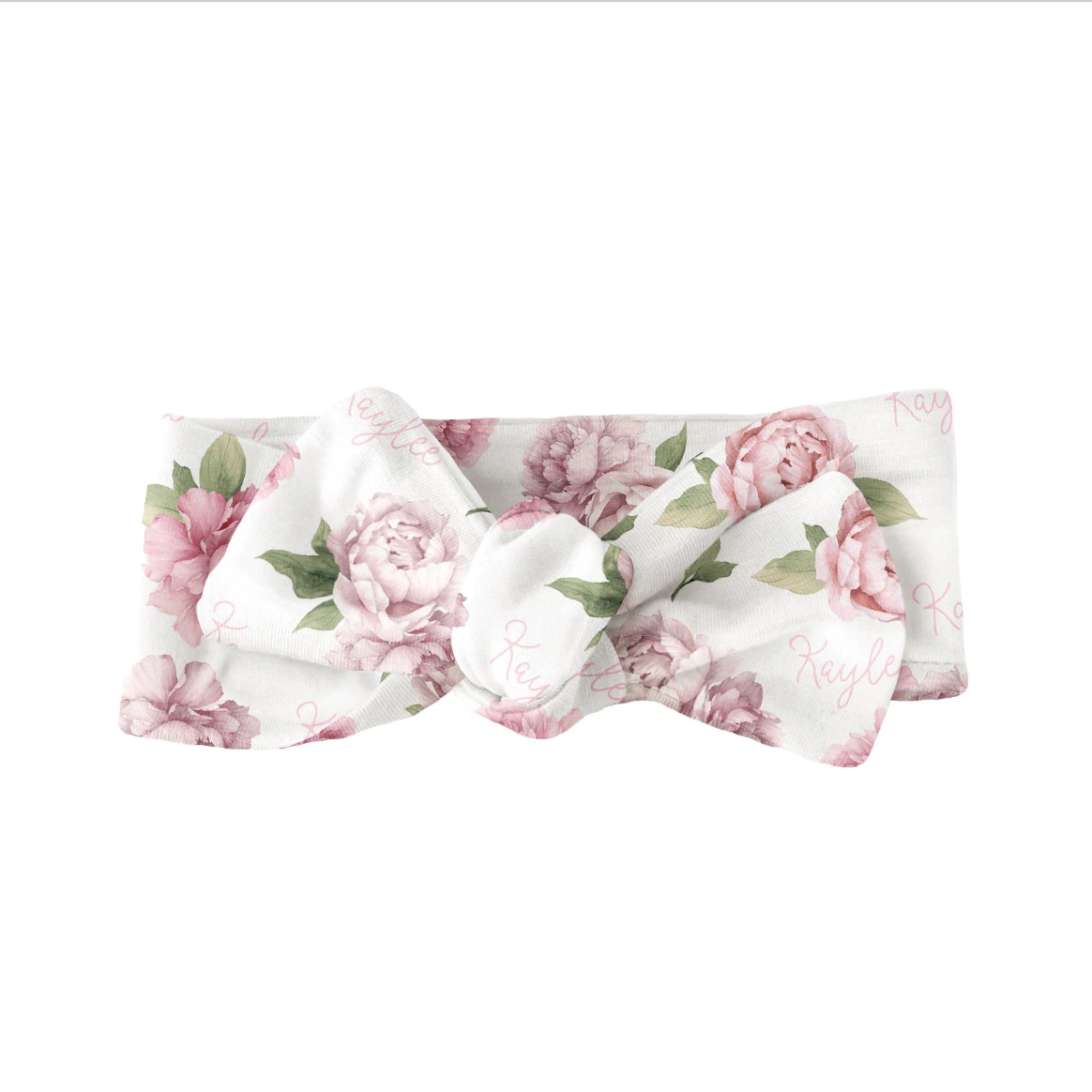 Sugar + Maple | Personalized Bow | Pink Peonies