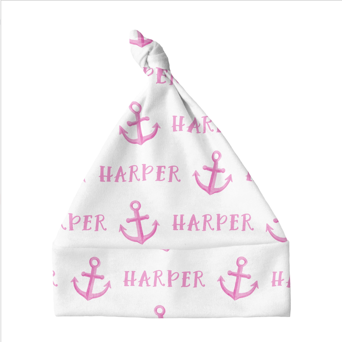 Sugar + Maple | Personalized Knotted Baby Hat | Anchor Pink