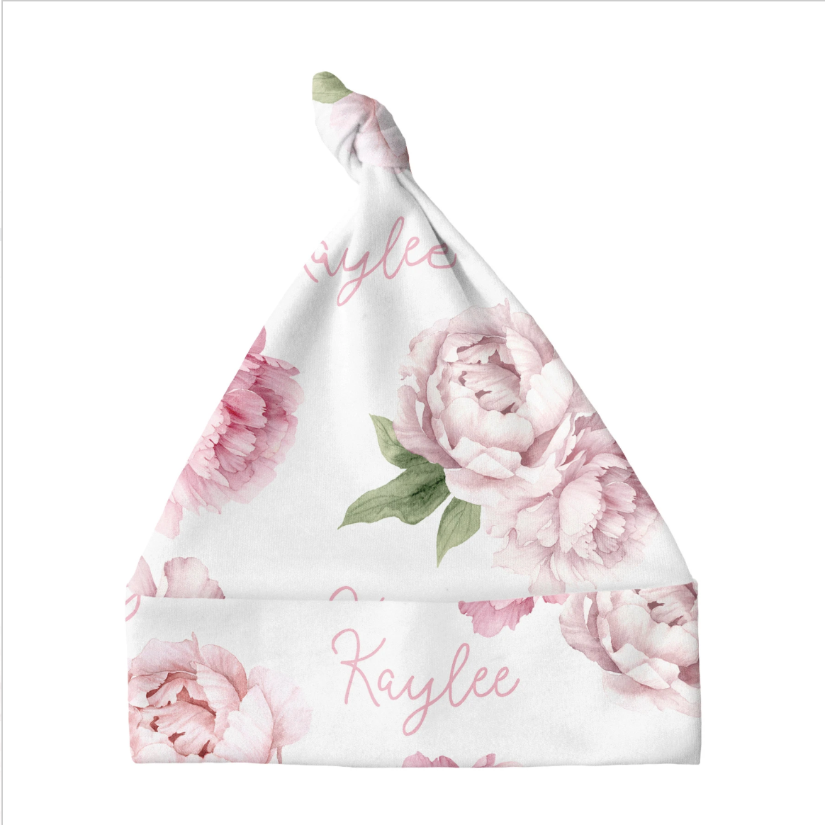 Sugar + Maple | Personalized Knotted Baby Hat | Pink Peonies