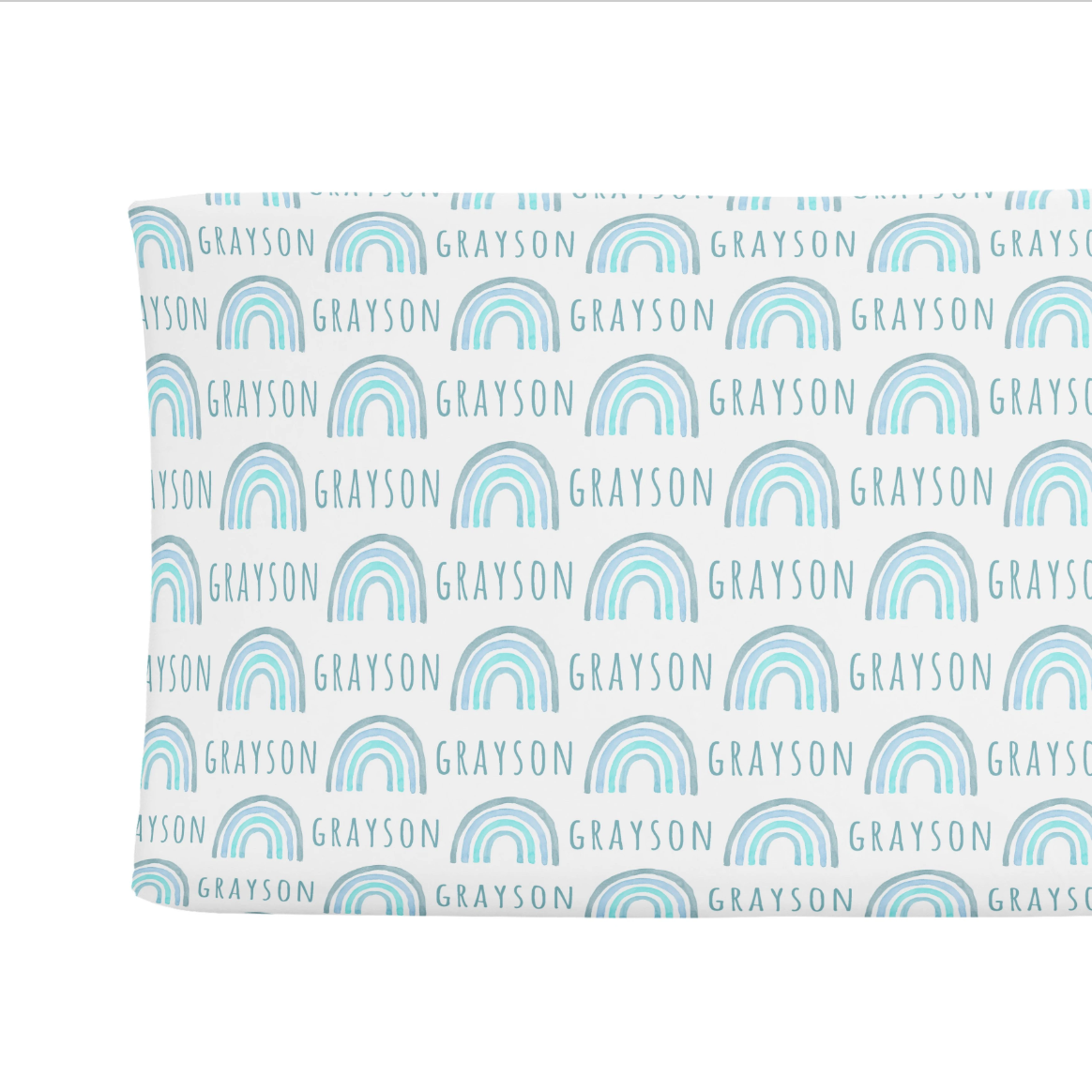 Sugar + Maple   Personalized Changing Pad Cover   Rainbow Blue