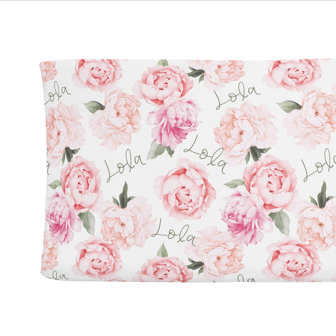 Sugar + Maple | Personalized Changing Pad Cover | Peach Peony Blooms