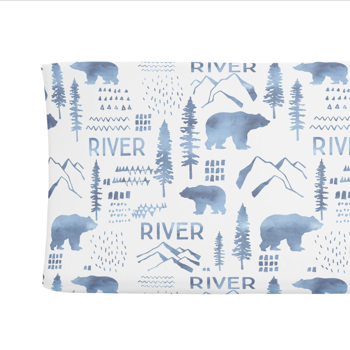 Sugar + Maple | Personalized Changing Pad Cover | Woodland Blue
