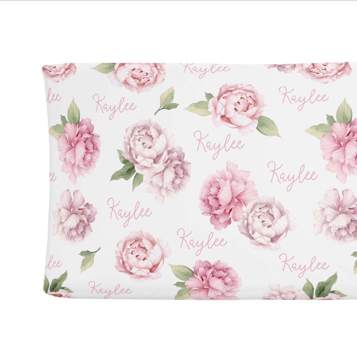 Sugar + Maple | Personalized Changing Pad Cover | Pink Peonies