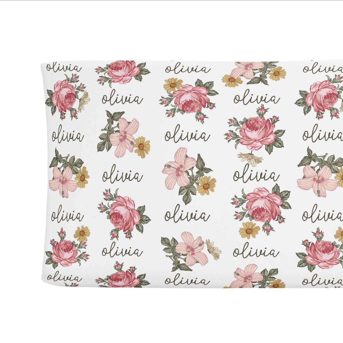 Sugar + Maple   Personalized Changing Pad Cover   Retro Rose