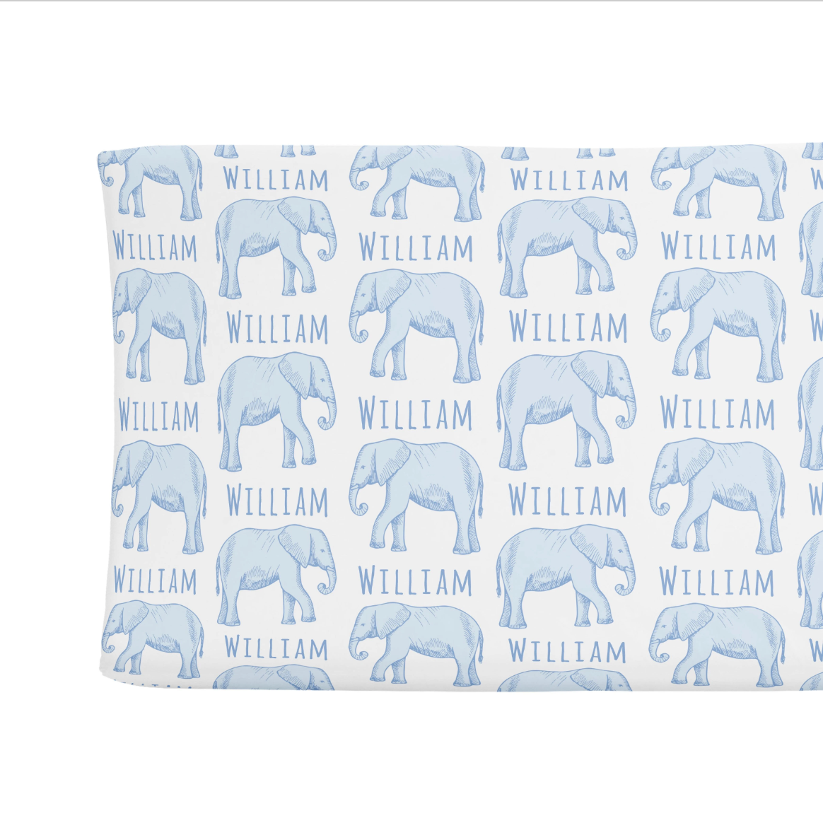 Sugar + Maple | Personalized Changing Pad Cover | Elephant Blue