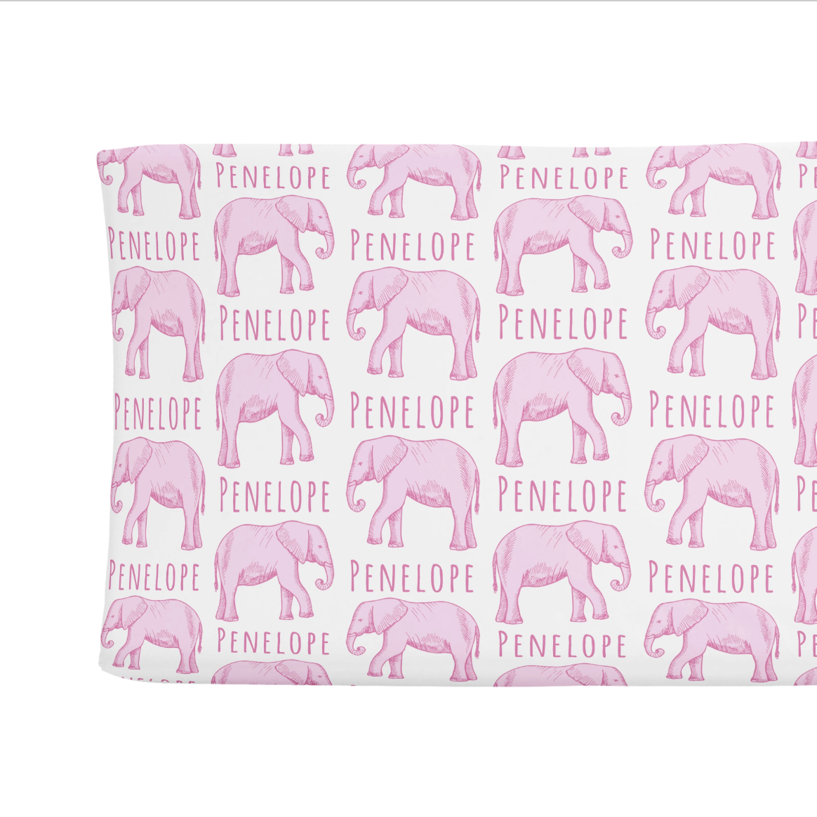 Sugar + Maple | Personalized Changing Pad Cover | Elephant Pink