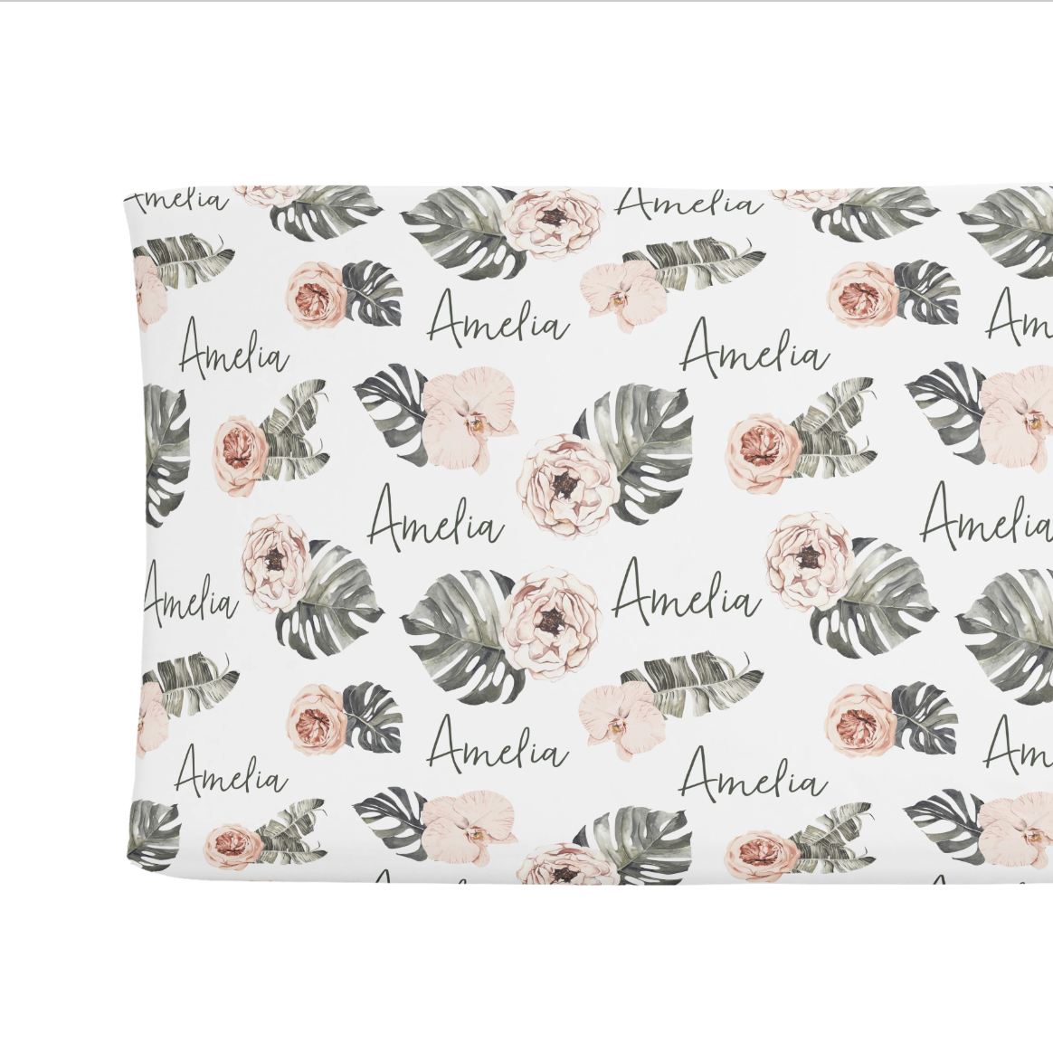 Sugar + Maple   Personalized Changing Pad Cover   Tropical Boho Floral