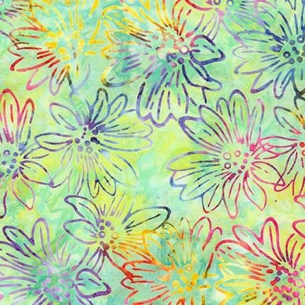 Bright Blooms Batiks - Mint