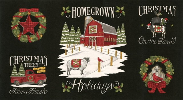 Homegrown Holiday Panel - Farm Black