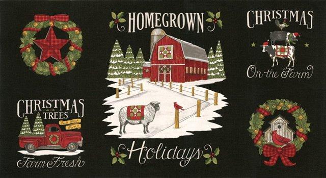Homegrown Holiday Panel - Farm Black