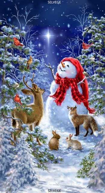 Starry Night Snowman & Animals  Panel