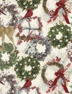 Holiday Metallic Wreaths/Cardinals-Cream