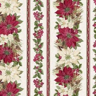 Holiday Metallic Poinsettia Stripe -Cream