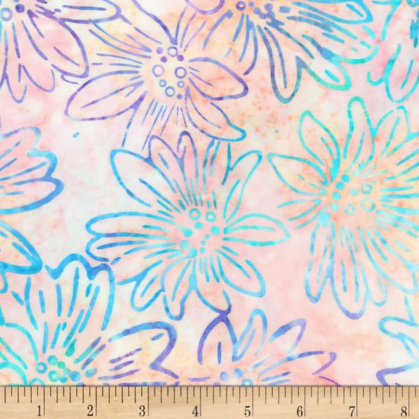 Bright Blooms Batiks - Melon