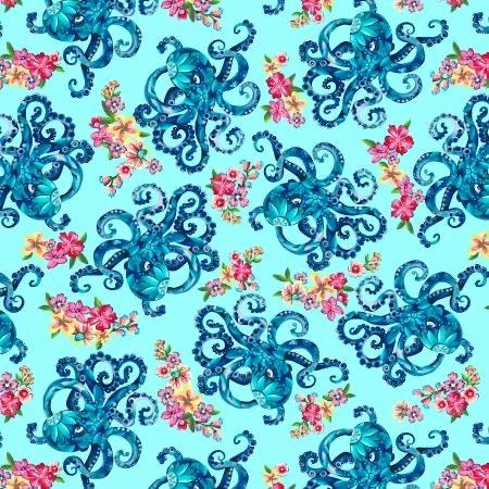 Blooming Ocean - Lt Blue Octopus