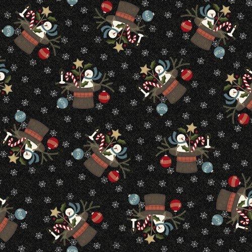 Snowdays Flannel - Santa Hat Black 9933JK
