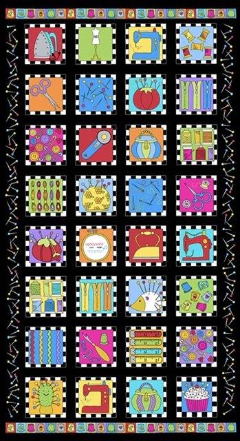 Sew Happy Panel A-9865-K (black)