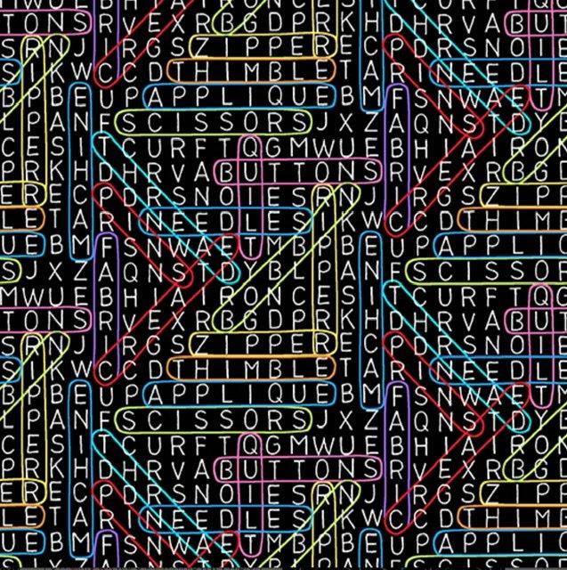 Sew Happy A-9869-K Word Search (black)
