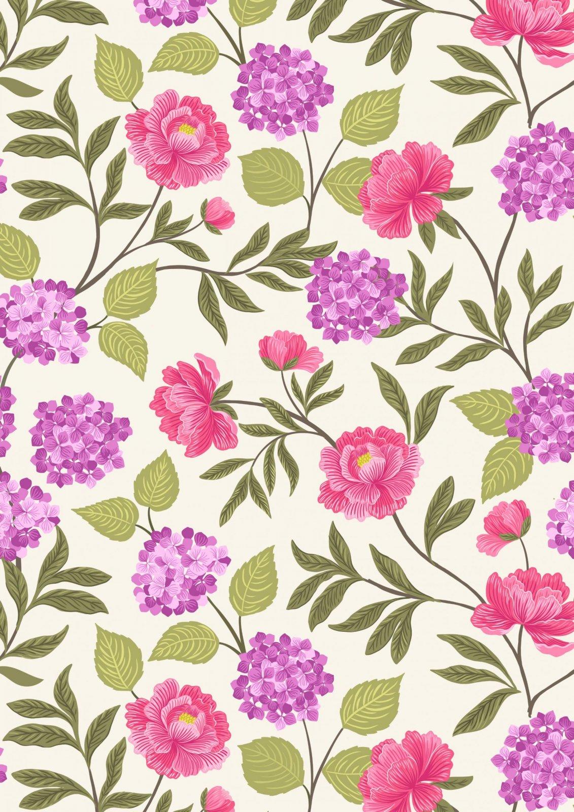 Love Blooms - A521.1 Peonies & Hydrangea on Cream