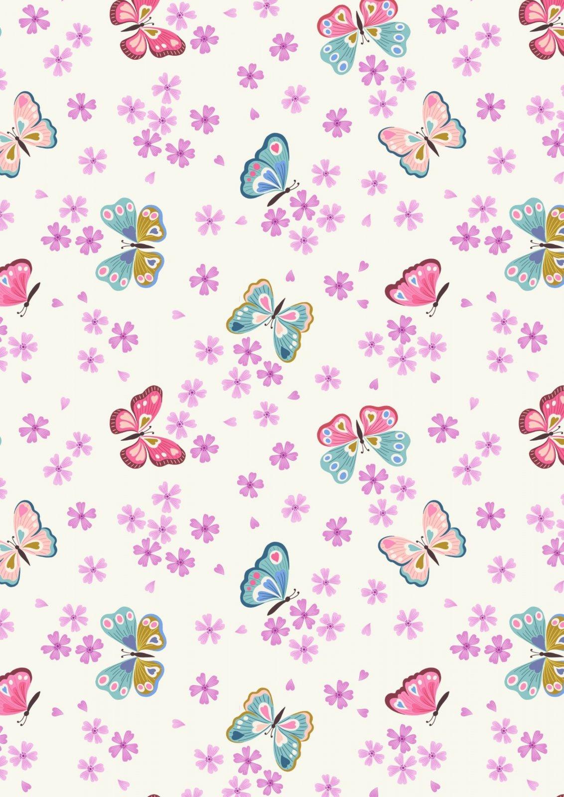 Love Blooms - A523.1 Butterflies on Cream