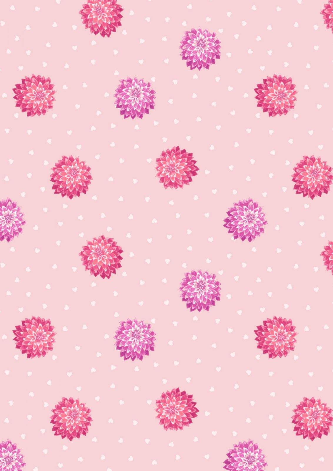 Love Blooms - A524.1 Dahlia & Hearts on Pale Pink