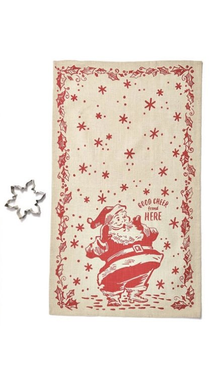 Good Cheer Santa Dishtowel w/ Cookie Cutter