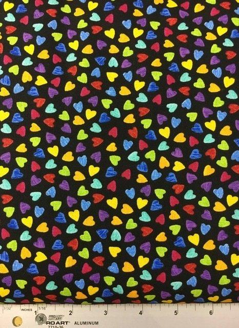 Gail - C6340 Multi Colored Hearts Black