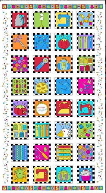 Sew Happy Panel A-9865-L white)