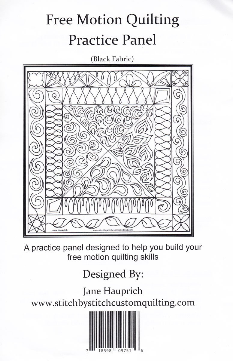 Free Motion Quilting - Practice Panel - Black