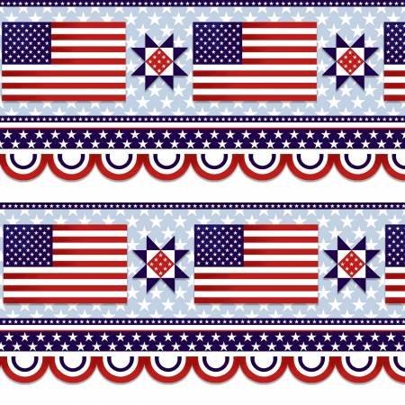 American Style - 5492-78 Patriotic Border Stripe