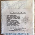 Free Motion Quilting - Whole Cloth Feather Medallion-White
