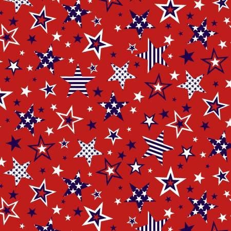American Style - 5493-88 Red Large Stars Patriotic