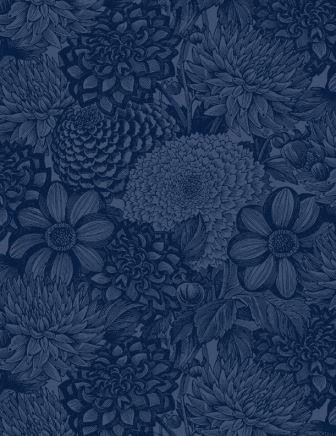 Wide Back Navy Floral Toile (108)