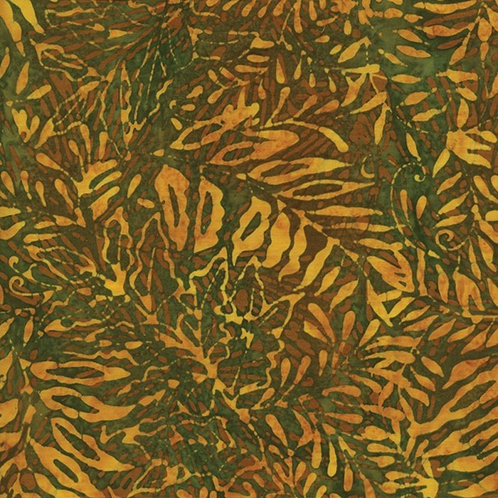 Island Batik 111501131 Gold Ferns on Green background, Countryside, 100% Cotton