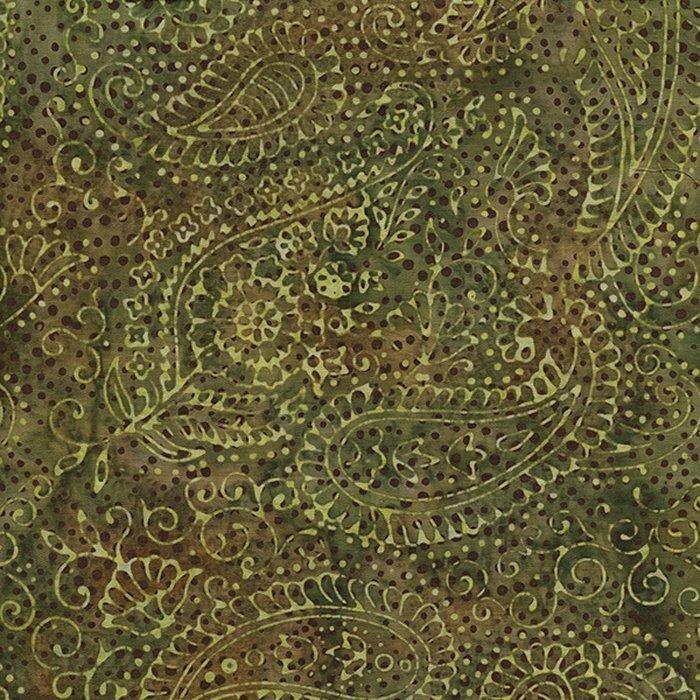 Island Batik 111505050  Green, Paisley, 100% Cotton