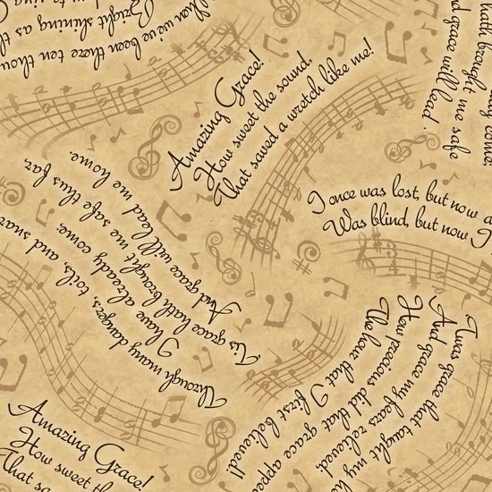 1649-24029-A, AMAZING GRACE, LYRICS & MUSIC, TAN, Quilting Treasures