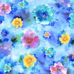 Charlene SPACED WATERCOLOR FLORAL BLUE