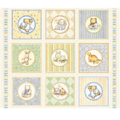 Lullaby BABY ANIMAL PICTURE PATCHES CREAM Panel