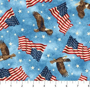 Stars and Stripes 9385-44 Stars, Eagles, & Flags on Blue, Stonehenge Stars and Stripes
