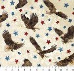 39436-30 Red & Blue Stars, & Eagles  on Cream, Stonehenge Stars and Stripes 7, Northcott