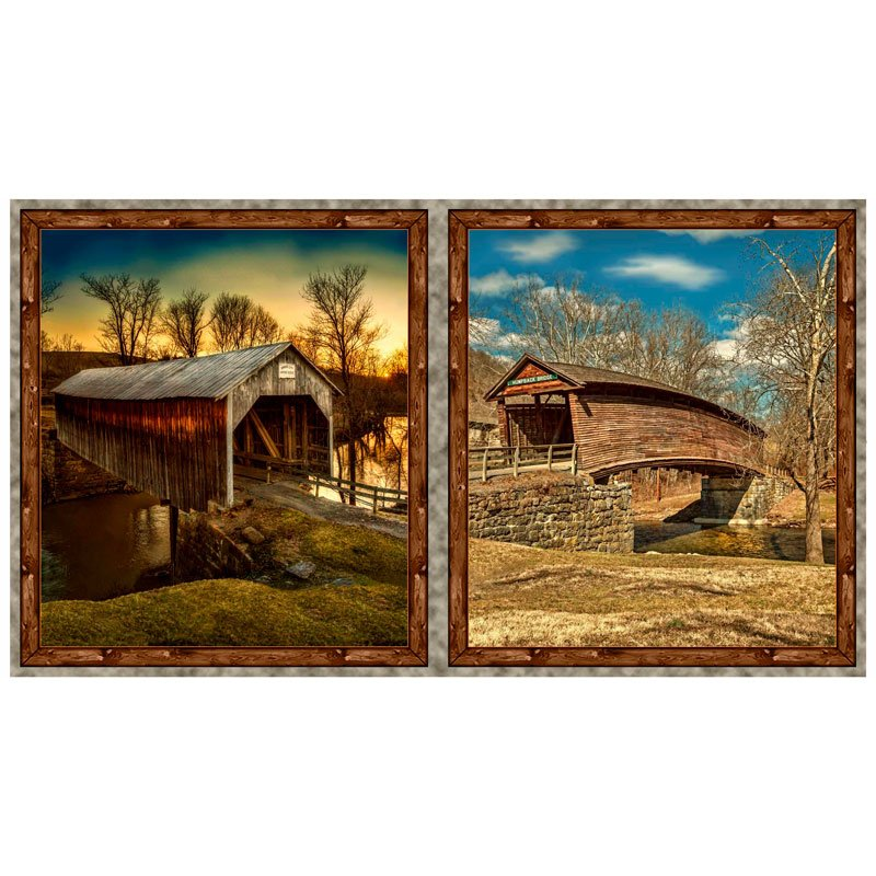 A19-101 Covered Bridges, Digitally Printed Panel, Art Works VII, QT Fabrics