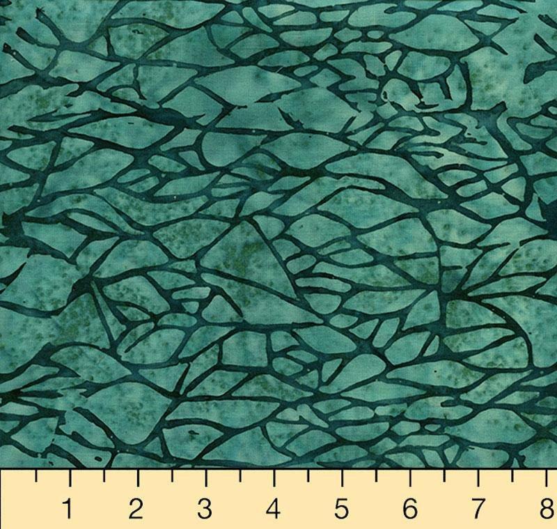Island Batik 721706560 Dark Lagoon, Chop / Branches, City Culture 100% Cotton