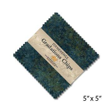 CSTONE42-49 Blue Planet Chips - 5 inch Squares, 42 Pieces, Stonehenge Gradations, Northcott Fabrics