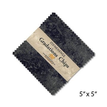 CSTONE42-95 Graphite Chips - 5 inch Squares, 42 Pieces, Stonehenge Gradations, Northcott Fabrics