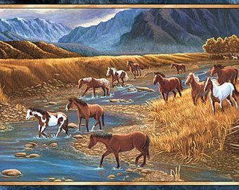 24794 X Sun-dance Mountain, Horse Panel, Quilting Treasures
