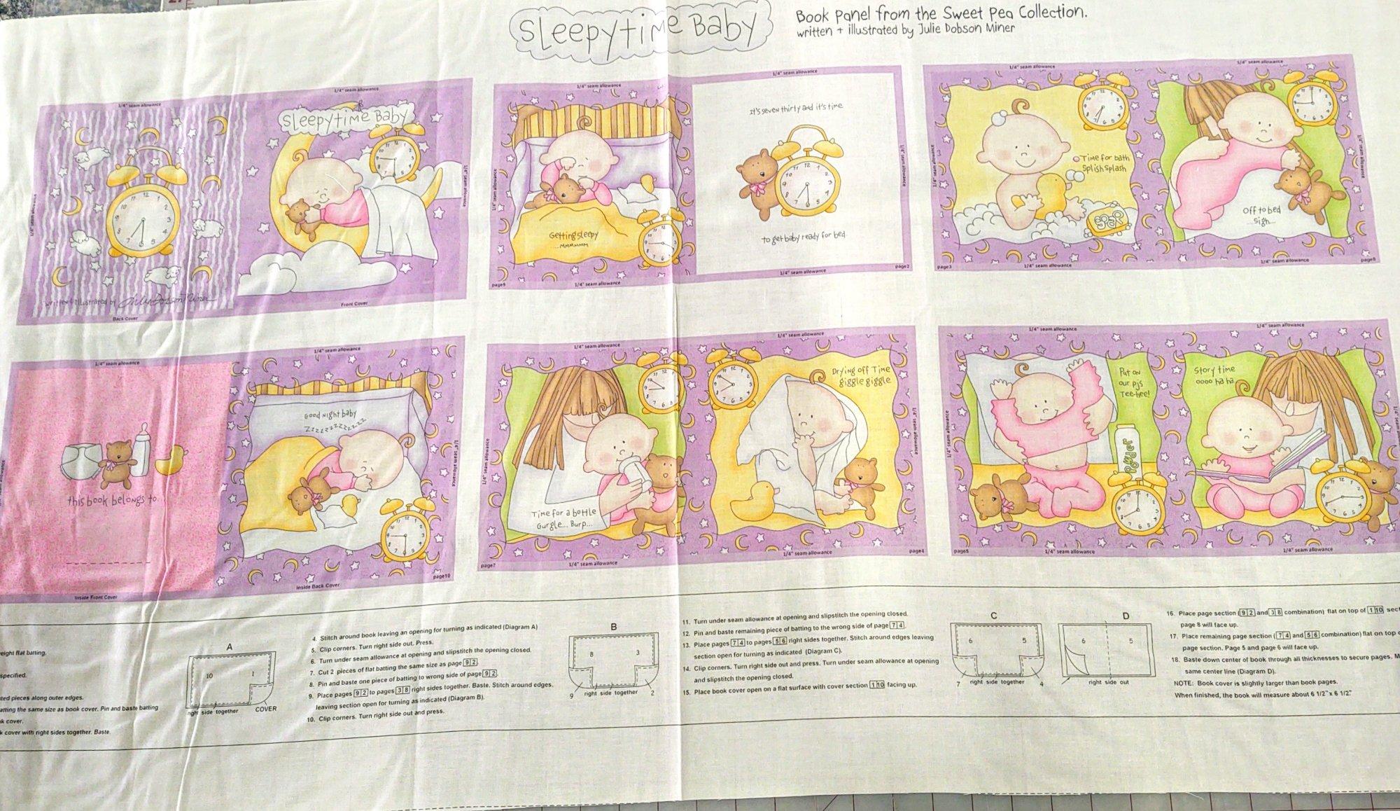 Sweet Pea-Sleepytime Baby Book Panel