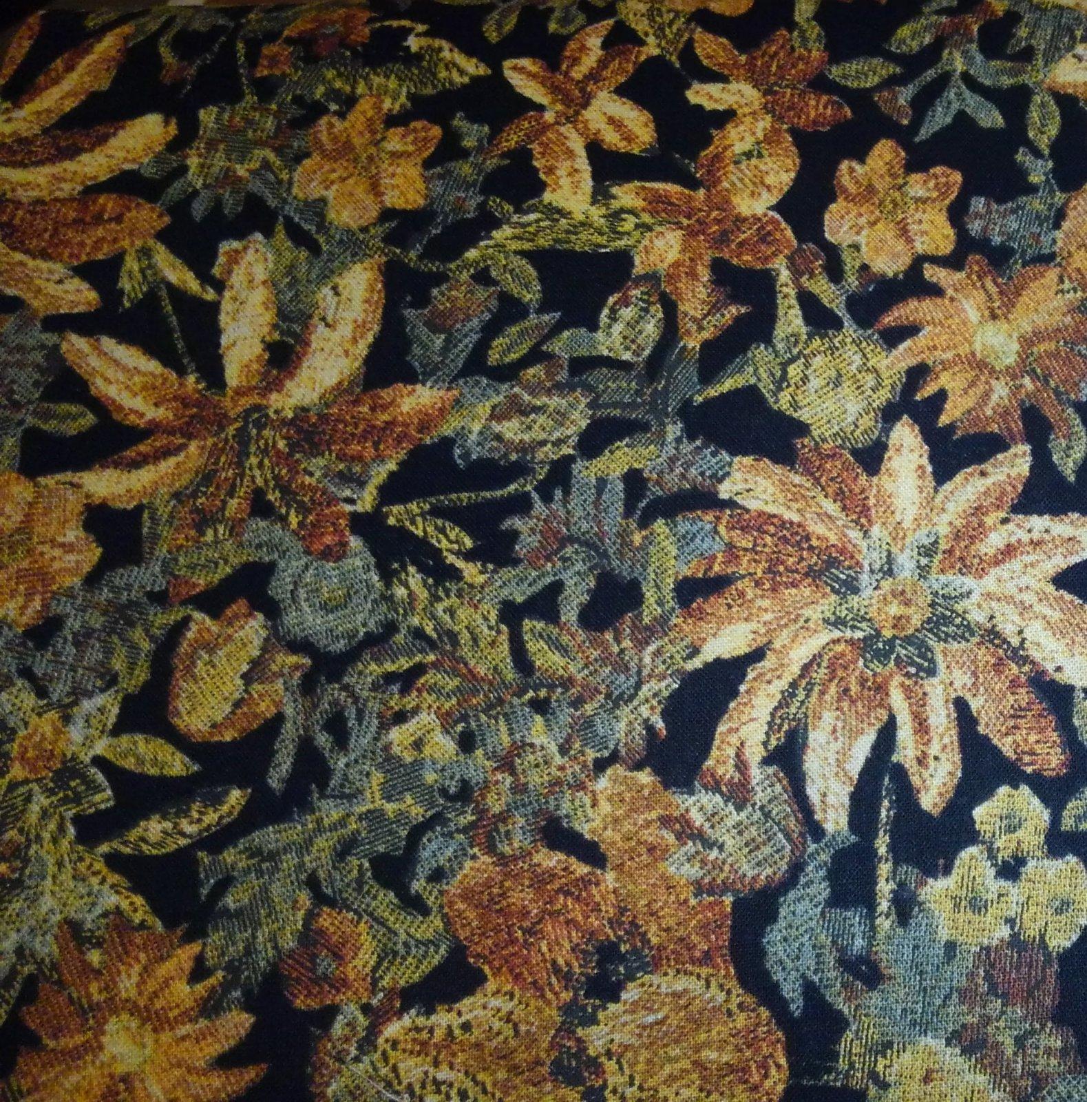 Delhi 2450-002 Flower, Rust, Sage, Black Multi Color Fabric