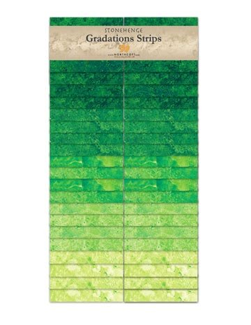 SSTONE40-72  - Rain Forest Strips, Stonehenge Gradations Brights Precuts, Northcott