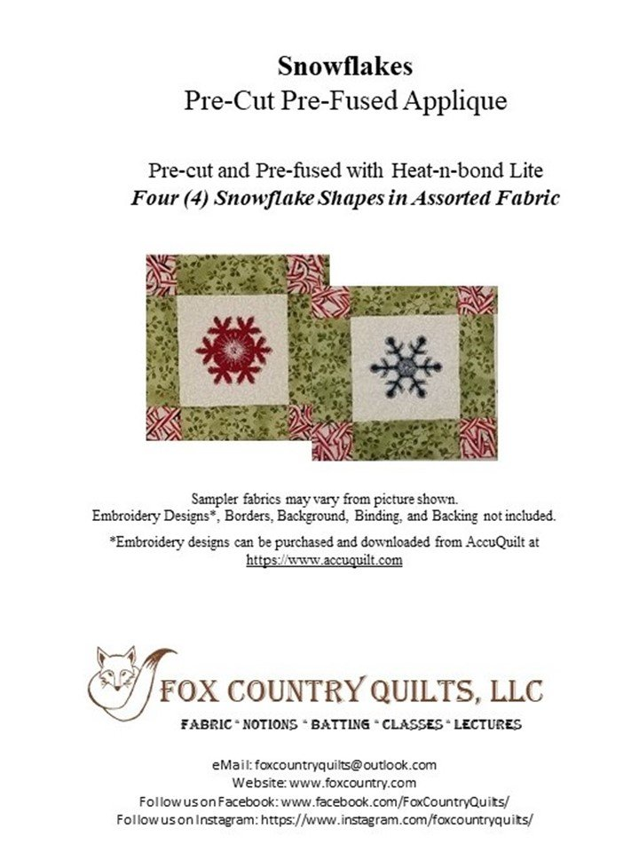 Christmas Wall Hanging Kit, Snowflake Applique 9-patch